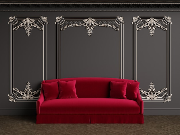 Classic sofa in classic interior with copy space