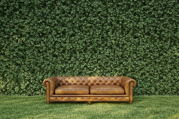 Classic sofa in garden on the grass