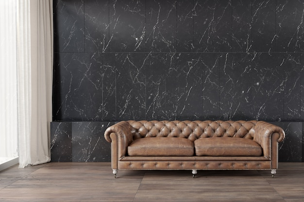Classic sofa with black marble pattern wall  wooden floor white curtian beside