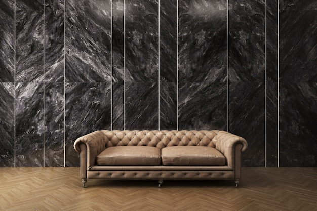 Classic sofa with black marble pattern wall