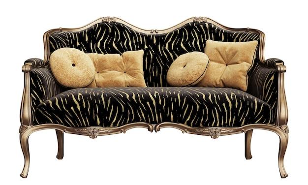 Классический диван с резными деталями на белом фоне