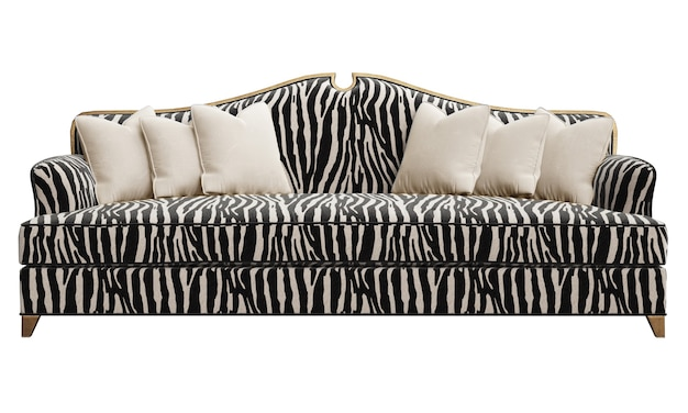 Classic sofa with carved details isolated on white background