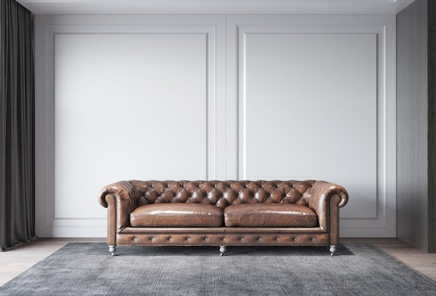 Classic sofa with classic wall and window decoration interior