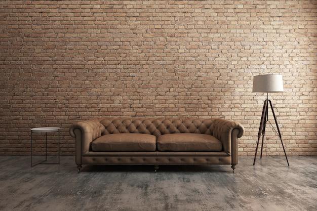 Classic sofa with orange brick wall