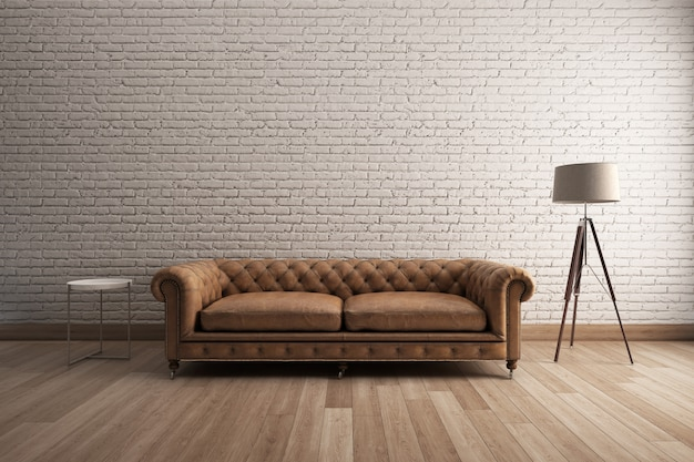 Classic sofa with white brick wall and wooden floor