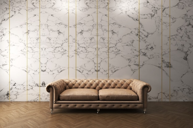 Classic sofa with white marble pattern wall