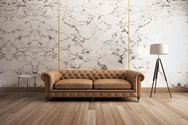 Classic sofa with white marble wall