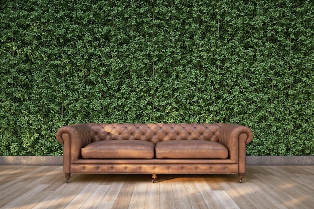 Classic sofa on wood deck in the garden