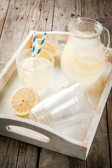 Classic sour and sweet homemade lemonade drink, summer cold iced beverage
