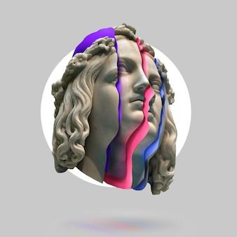 Классическая концепция фона статуи фон в стиле vaporwave классическая скульптура с искажением