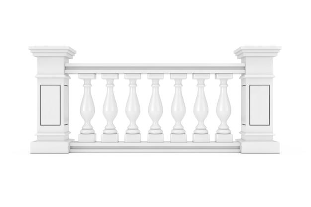白い背景の上の列と古典的な石の柱手すり子。 3dレンダリング