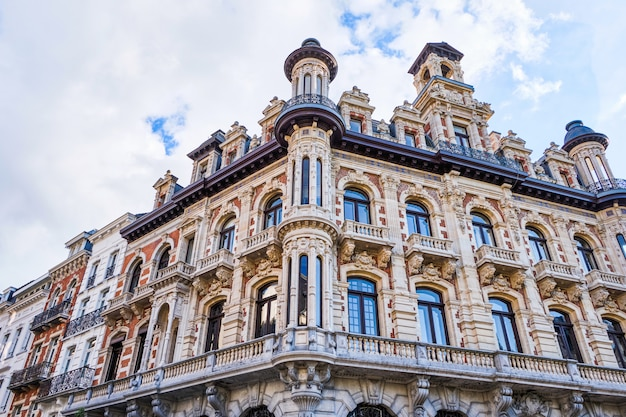 Classic style architecture buildings facade in brussels, belgium
