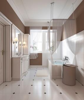 Отделка ванной комнаты в классическом стиле, туалетный столик, ванна. 3d-рендеринг.