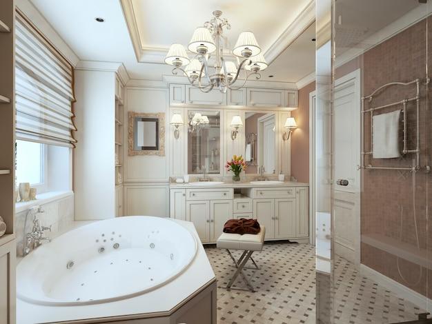 白い家具と茶色の壁のクラシックなスタイルのバスルーム