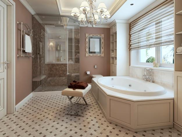 흰색 가구와 갈색 벽이있는 고전적인 스타일의 욕실