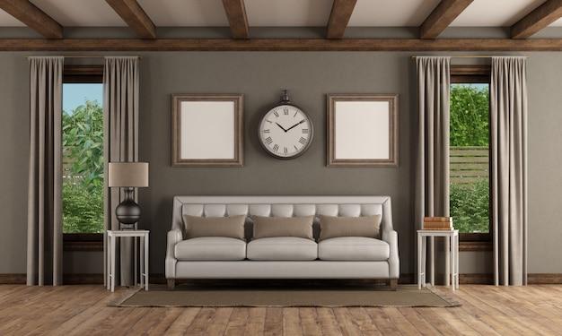 Интерьер в классическом стиле с белым диваном и двумя окнами