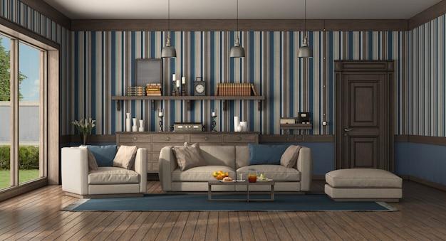 현대적인 소파와 안락 의자가있는 고전적인 스타일의 거실입니다. 오래 된 문 및 서랍장-3d 렌더링