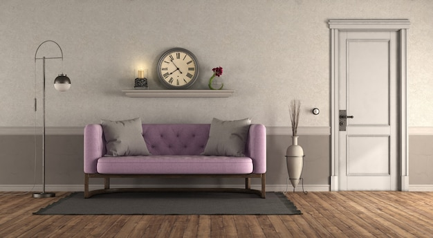 Classic style living room with pink sofa and closed door - 3d rendering