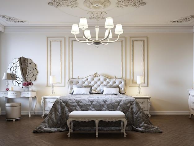 내실과 창문이있는 베이지 색의 고전적인 스타일의 고급 침실 인테리어. 3d 렌더링