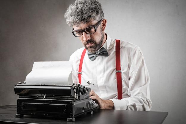 Classic stylish writer with his typewriter