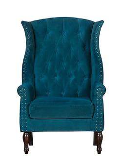 Классический текстильный синий стул, изолированный на белом