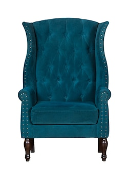 Classic textile blue chair isolated on white