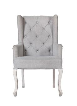 Классический текстильный серый стул, изолированный на белом