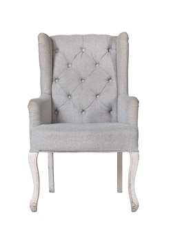 Classic textile grey chair isolated on white
