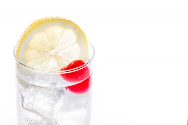 Classic tom collins cocktail on white