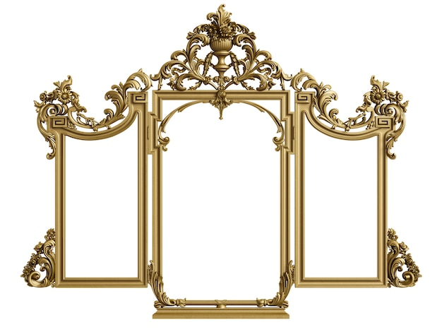 Classic triptych mirror frame. 3d rendering