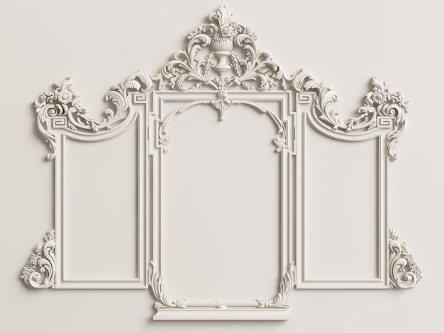 Classic triptych mirror frame on the white wall. 3d rendering
