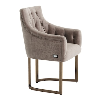 Classic tufted armchair  on white wall