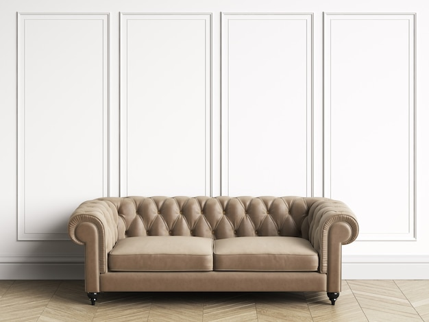Classic tufted sofa in classic interior with copy space. white walls with mouldings. floor parquet herringbone. 3d rendering
