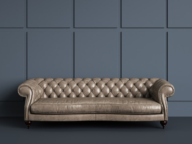 Classic tufted sofa  in empty room with blue grey walls.minimal concept