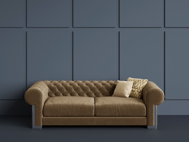 Classic tufted sofa  in empty room with blue walls.minimal concept