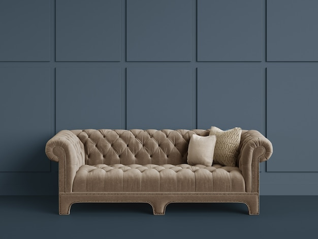 Classic tufted sofa  in empty room with grey walls.minimal concept
