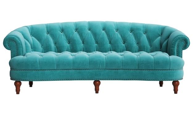 Классический тафтинговый диван на белом фоне
