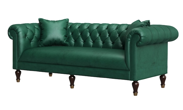 Classic tufted sofa isolated on white background.digital illustration.3d rendering