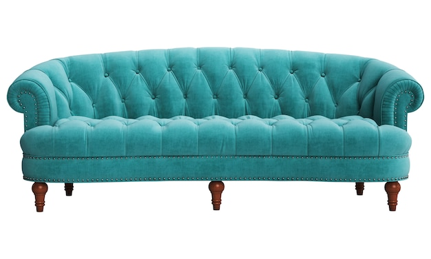 Classic tufted sofa isolated on white background