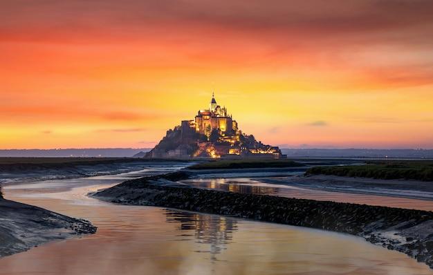 Classic view of famous le mont saint michel tidal island