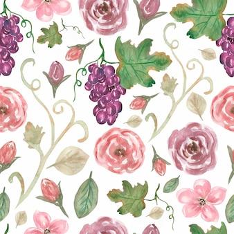 포도와 클래식 빈티지 플라워 패턴입니다. 핑크 꽃과 잎으로 완벽 한 패턴