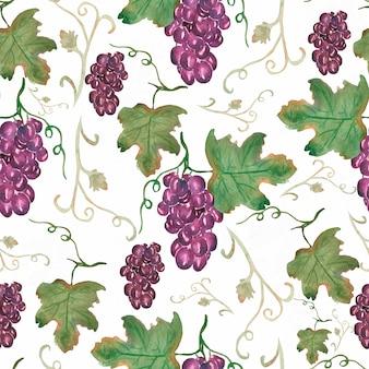 ブドウと古典的なビンテージフルーツパターン。葉とブドウの果実とのシームレスなパターン