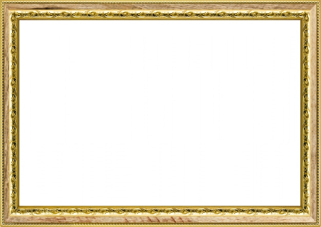 Classic vintage gilded  frame isolated on white