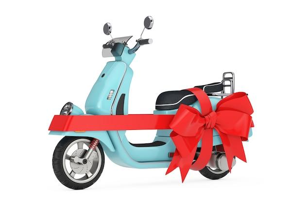白い背景の上の贈り物として赤いリボンとクラシックなヴィンテージレトロまたは電動スクーター。 3dレンダリング