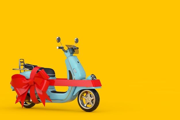 黄色の背景にギフトとして赤いリボンが付いたクラシックなヴィンテージレトロまたは電動スクーター。 3dレンダリング