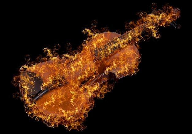 黒の背景に分離された火で古典的なバイオリン