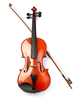 Classic violin and bow isolated on white