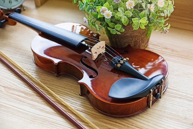 The classic violin put on wooden desk, beside flower pot, show front side of stringed instrument, blurry light around