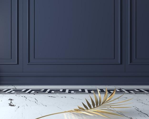 ダークウッドパネルのクラシックな壁とゴールドのヤシが白い大理石の床に残します