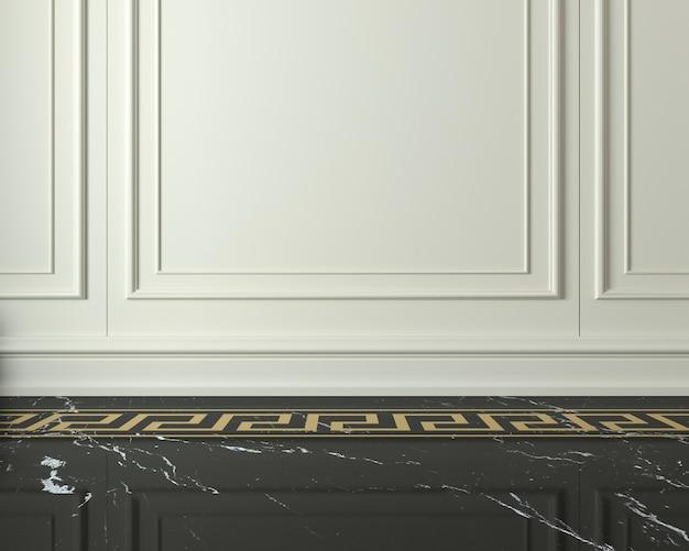 Классическая стена из белых деревянных панелей и темного мраморного пола